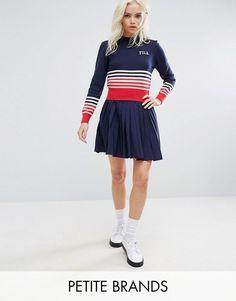 Fila Petite Pleated Mini Skirt With Logo Detail - Navy