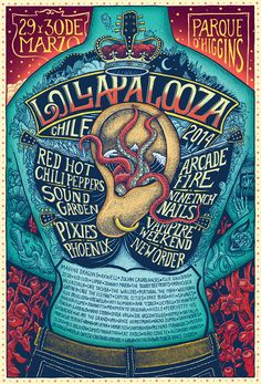 Lollapalooza 2014 Poster on Behance by Alvaro Arteaga Cover Design, Art Design, Rock Posters, Band Posters, Modern Posters, Theatre Posters, Movie Posters, Musikfestival Poster, Poster Prints