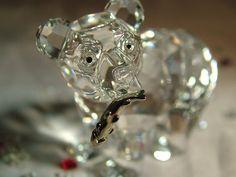 Retired Swarovski Crystal Figurine Bear Cub Silver Fish 7637 000 007 Mint in Box | eBay