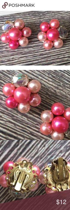 Vintage Clip On Earrings Gorgeous true vintage pink faux pearl elegant beaded cluster earrings, Made in Japan; no flaws; very classy! unknown Jewelry Earrings