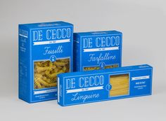 Packaging for a series of De Cecco pasta. School assignment at School of Visual Arts, New York. Instructor: Louise Fili.