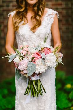 fall bouquet, photo by Redfield Photography http://ruffledblog.com/romantic-philadelphia-wedding #weddingbouquet #flowers