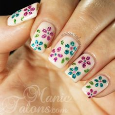 Glitter Flowers by ManicTalons.com