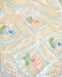 Pink and Blue Floral Vintage Chenille Bedspread by AlorasAdorables, $22.50