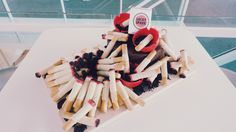 MadMen party theme cake! I made these chocolate cigarette sticks, inspired by my childhood favourite snacks: pocky!