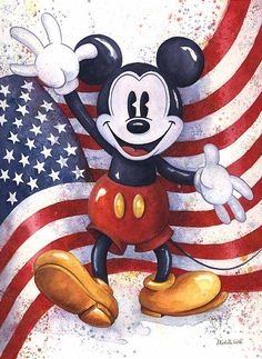 """Mickey Americana"" by Michelle St. Laurent - Original Watercolor on Paper, 28.75 x 21."