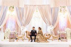 Samiya + Azhar's Wedding Reception – Photography by Azra Wedding Hall Decorations, Wedding Stage Design, Wedding Reception Backdrop, Wedding Reception Photography, Wedding Mandap, Desi Wedding, Backdrop Decorations, Gold Wedding, Backdrops