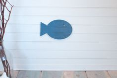 Blue Wooden Fish small beach wall decor, nautical home,beach house, nautical nursery, sea creatures, blue under the sea,cottage decor