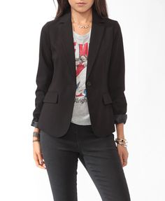 Been looking everywhere for a new blazer and I think ike finally found it! Classic Woven Blazer | FOREVER 21 - 2087532858