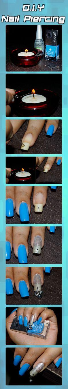 Ideas hair beach diy nail art for 2019 Nail Art Diy, Diy Nails, Cute Nails, Pretty Nails, Nail Piercing, Different Color Nails, Hacks, Cute Nail Designs, Nail Art Galleries