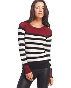 Striped Zipper-Accent Sweater | Wet Seal