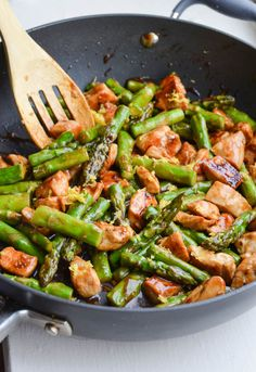 Lemony chicken and asparagus stir fry. Great combination.