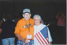 Sr. Maurice volunteers with the #VA Clinic and the #CatholicWarVeterans  Here she welcomes #Vets back from #HonorFlight