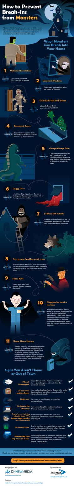 How To Prevent Break-Ins From Monsters #Infographic #burglary #Safety