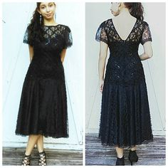 80's Black Lace Sequined Evening Dress by GenesisVintageShop