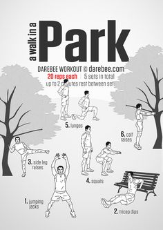 Next time you take a walk in the park add this routine! Park Workout