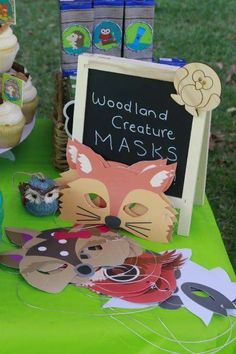 Woodland creature masks at a camping birthday party! See more party ideas at CatchMyParty.com!