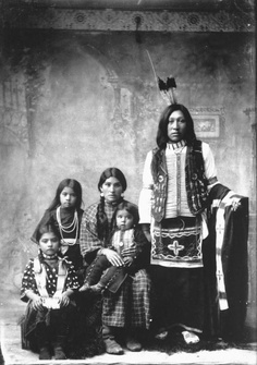 A Native American family from a Southeastern Idaho reservation. Idaho, USA, 1897.