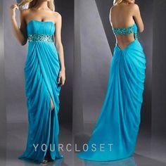 Strapless light blue goddess prom dress
