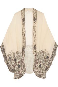 Anna Sui|Embellished crinkled silk-chiffon kimono jacket|NET-A-PORTER.COM