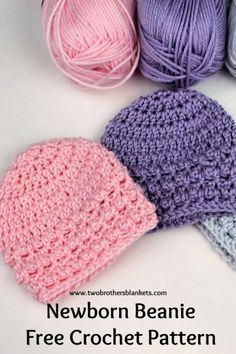Little Textures Newborn Beanie Free Crochet Pattern - Free Crochet Patterns - A simple and quick crochet pattern that is perfect for new baby! Crochet Baby Hats Free Pattern, Crochet Baby Hat Patterns, Crochet Baby Beanie, Baby Hats Knitting, Free Crochet, Free Newborn Knitting Patterns, Newborn Crochet Hat Pattern, Crochet Baby Bonnet, Booties Crochet