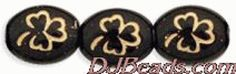 9x10mm Opaque Black Gold Inlay Oval Czech Glass Shamrock Clover Beads