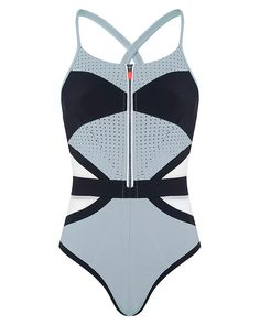 Bring 60s inspired style to your beach look with this fashion-forward swimsuit from the exclusive London Edit collection. Designed in technical Sensitive fabric, it is complete with perforated and powermesh panels to shape the silhouette and support breathability. Body-sculpting waist panels and a front zip create a fitted look, epitomising directional style in and out of the water.Limited edition only 100 of each style available.