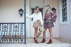 looksly - Lais Rasera e Marília Boaretto bata, saia de botões de chamois e vestido estampado do Inverno 2016