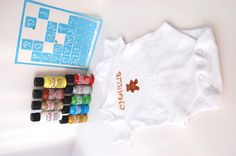 Easy personalised/customised baby clothing.  DIY stencilled baby grow using DecoArt alphabet stencils, Decoart SoSoft fabric paint and a onsie/vest from Tescos.