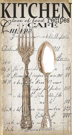 Antique Utensils For Kitchen And Dining In White Art Print by Grace Pullen. All prints are professionally printed, packaged, and shipped within 3 - 4 business days. Choose from multiple sizes and hundreds of frame and mat options. Decoupage Vintage, Decoupage Paper, Vintage Paper, Kitchen Art, Vintage Kitchen, Grace Kitchen, Kitchen Utensils, Kitchen Ideas, Graphics