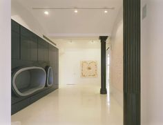 Apartement Black Cabinet Among Seating Units Offering Different Style From Hallway As Home Interior Color Theme in Loft Interior for Creative Mind