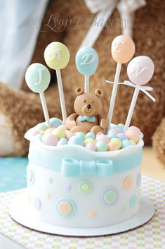 Replace bear with DUCK - Teddy Bear & Lollipop Birthday Cake Beautiful Cake Pictures, Beautiful Cakes, Amazing Cakes, Baby Shower Pasta, Torta Baby Shower, Fondant Cakes, Cupcake Cakes, Fondant Baby, Bolo Laura