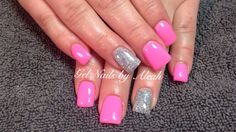 Pink with Glitter Barbie Nails