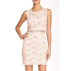 """Sleeveless illusion lace body-con dress. Sleeveless crew neck• Back hook and eye closure• Hidden back zip closure• Open back• Padded cups• Allover embellished lace.(33"""" length) City Triangles Dresses"""