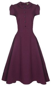 NEW VINTAGE 1950's PLUM POLKA DOT PETER PAN COLLAR ROCKABILLY SWING DRESS PURPLE | eBay