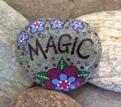 Happy Rock  Magic  Hand-Painted River Rock