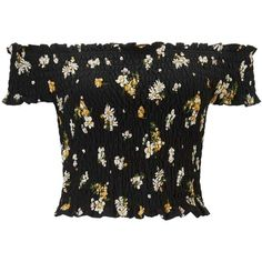 Miss Selfridge Floral Print Shirred Bardot Crop Top (45 CAD) ❤ liked on Polyvore featuring tops, assorted, shirred top, shirred crop top, rouched top, boho style tops and ruching tops