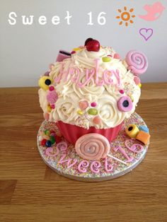'Sweet' 16 giant cupcake sweet 16 www.candyscupcakes.co.uk