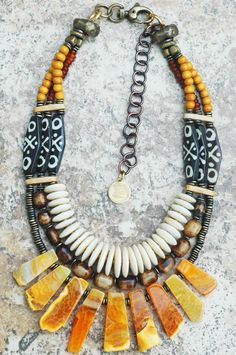 Madagascar: Exotic Tribal Brown Bone, Shell Disc and Amber Agate Fringe Necklace Mrs Necklace, Fringe Necklace, Tribal Necklace, Tribal Jewelry, Beaded Jewelry, Jewelry Necklaces, Beaded Necklace, Necklace Ideas, Hippie Jewelry
