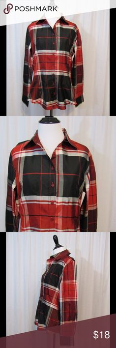 "Coldwater Creek Red Black Plaid Silk Blend Top S -Button Front  -Long Sleeve -Shiny   Brand: Coldwater Creek  Size: S Color: Red/Black/White/Gray Material: 62% Silk 38% Polyester  Care Instructions: Dry clean Bust: 38"" Sleeves: 23 1/2"" Length: 25""  Buy more save more! Bundle discount! No trades.   All clothing is in excellent used condition. All clothes have been inspected and unless otherwise noted have no rips, holes or stains.   Cont: P21 Coldwater Creek Tops Blouses"