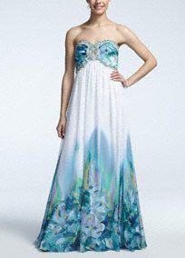 Tell the world you're a trendsetter in this long, printed prom dress!   A stunning, strapless chiffon neckline is accentuated by beaded bands and a center embellishment.  Unique and vibrant print is sure to stand out in any crowd!  Fully lined. Back zip. Imported polyester. Dry clean. Available in Plus sizes as Style 55178DW.