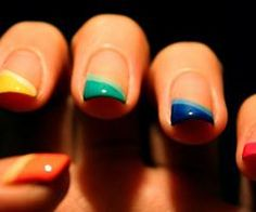 colorful french #nails