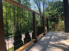 Welded Mesh Level Rail Panels by Wild Hog Railing Wire Deck Railing, Hog Wire Fence, Deck Railing Design, Metal Deck, Metal Railings, Dog Fence, Fence Design, Cedar Fence, Cable Railing