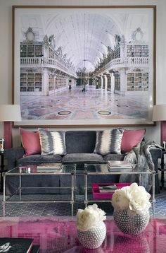 Luxuriate in the Living Room. Pink and charcoal with oversized art. Interior Designer: unknown.