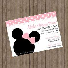 Minnie Mouse Invitation Printable by TheGreenGrassGrows on Etsy
