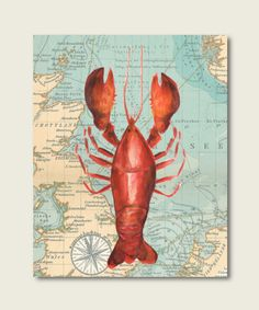 Vintage lobster nautical art watercolor by RainbowsLollipopsArt