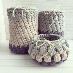 23 Trendy Crochet Ideas For Home T Shirts Crochet Home, Crochet Gifts, Crochet Yarn, Knitting Yarn, Crochet Motifs, Crochet Stitches Patterns, Crochet Designs, Crochet Basket Pattern, Knit Basket