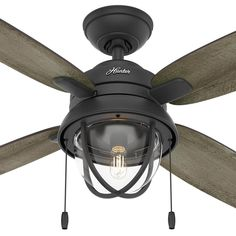Hunter Barnes Bay 52 in. LED Indoor/Outdoor Natural Iron Ceiling Fan with Light Kit-59560 - The Home Depot