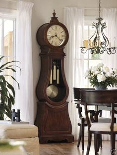 Howard Miller Arendal Grandfather Clock is a Scandinavian Design with free In-Home Delivery on the Arendal Grandfather Clock. Mesa Retro, Grandmother Clock, Antique Grandfather Clock, Living Colors, Modern Interior, Interior Design, Traditional Dining Rooms, Howard Miller, Antique Clocks