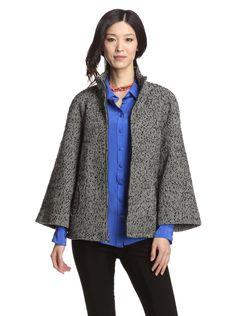 Betsey Johnson Women's Zip-Up Jacket (Black) Herringbone jacket with a hint of metallic shimmer, unique pocket openings, wide bracelet-length raglan sleeves #Jacket # #